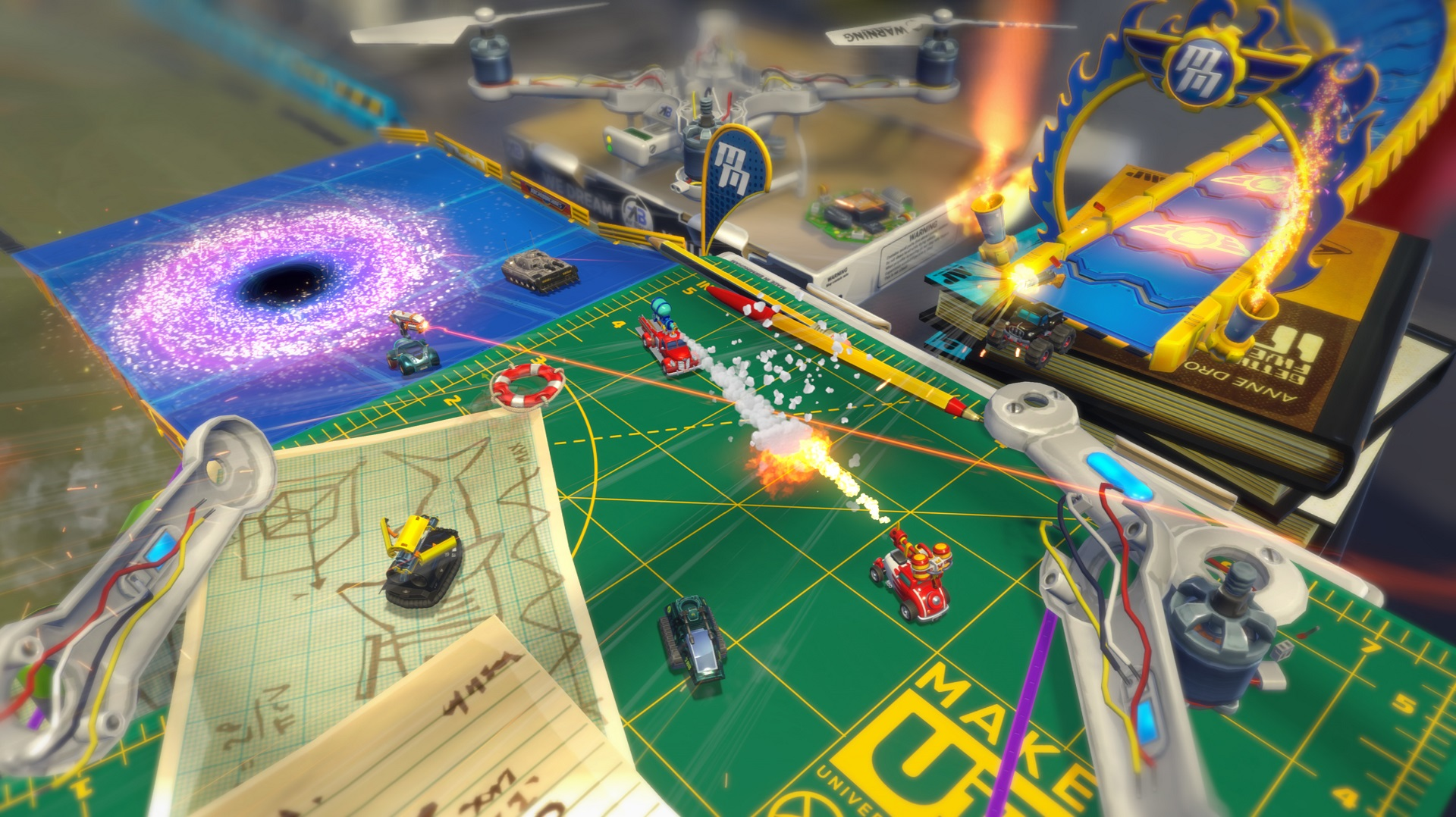 Micro Machines - Battlers beware - black hole!