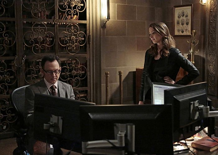 """""""/"""" -- The Machine assigns Root (Amy Acker, right) to seek out a janitor with a mysterious past, but when her very presence puts his life in danger, Finch (Michael Emerson, left) also receives his number, on PERSON OF INTEREST, Tuesday, March 18 (10:01 – 11:00 PM ET/PT) on the CBS Television Network.  Photo: Giovanni Rufino/Warner Bros. Entertainment Inc.  © 2014 WBEI. All rights reserved"""