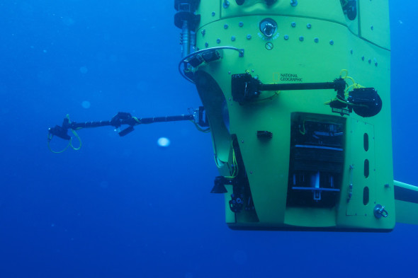 PERMITTED USE: This image may be downloaded or is otherwise provided at no charge for one-time use for coverage or promotion of DEEPSEA CHALLENGE dated 2012 and exclusively in conjunction thereof.Copying, distribution, archiving, sublicensing, sale, or resale of the image is prohibited. REQUIRED CREDIT AND CAPTION: Any and all image uses must (1) bear the copyright notice, (2) be properly credited to the relevant photographer, as shown in this metadata, and (3) be accompanied by a caption which makes reference to the DEEPSEA CHALLENGE.  DEFAULT: Failure to comply with the prohibitions and requirements set forth above will obligate the individual or entity receiving this image to pay a fee determined by National Geographic. 08: Photo by Mark Thiessen/National Geographic Crews continue in-water testing in Australia of DEEPSEA CHALLENGER, the submersible that explorer and filmmaker James Cameron will pilot to the bottom of the Mariana Trench. The vessel is the centerpiece of DEEPSEA CHALLENGE, a joint scientific project by Cameron, the National Geographic Society and Rolex to conduct deep-ocean research.